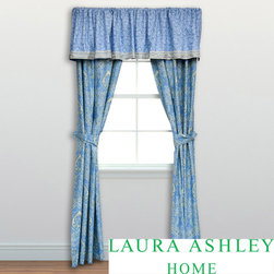 Laura Ashley - Laura Ashley Prescott Cotton Valance - Cover your windows with this blue-and-yellow cotton valance. It features a beautiful paisley pattern with a border print. The 100 percent cotton construction gives it a soft feel, and its hypoallergenic qualities are great if you suffer from allergies.