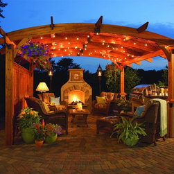 Pre-Manufactured Fireplaces and Pergolas - Budget pergola and fireplace kits can be half the price of custom ones; plus you get a clear picture of what they will look like before hand.