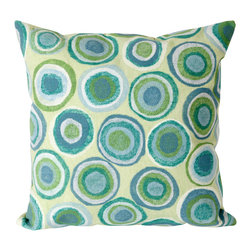 """Trans-Ocean - Puddle Dot Green Pillow - 20"""" SQ - The highly detailed painterly effect is achieved by Liora Mannes patented Lamontage process which combines hand crafted art with cutting edge technology.These pillows are made with 100% polyester microfiber for an extra soft hand, and a 100% Polyester Insert.Liora Manne's pillows are suitable for Indoors or Outdoors, are antimicrobial, have a removable cover with a zipper closure for easy-care, and are handwashable."""