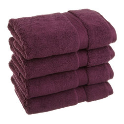 Luxurious Egyptian Cotton 900 Gram 4-Piece Plum Hand Towel Set - Luxurious Egyptian Cotton 900GSM 4pc Plum Hand Towel Set