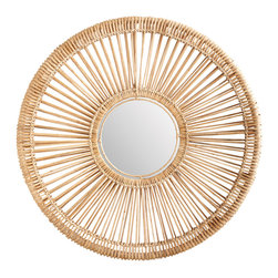 Lazy Susan - Natural Split Rattan Spoke Mirror, Small - -Handcrafted