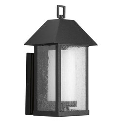 Progress Lighting - Progress Lighting P5939-31 One-Light Wall Lantern With Clear Seeded Glass Panels - One-light medium wall lantern with streamlined clear glass cage that encases opal etched glass cylinder. The marriage of black and white creates a timeless styling.