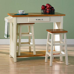 Southern Enterprises - Nantucket 3 Piece Small Breakfast Set with Nesting Stools Multicolor - DN1439R - Shop for Dining Sets from Hayneedle.com! Convenience and traditional styling would make this little set a welcome addition to any householdThis lovable little breakfast set is quite charming and is just as useful for an afternoon snack as for your morning meal. It is very useful with a countertop storage drawer a towel rack and enough room underneath to store the two included stools. Compact style with nesting stools. MDF and Birch wood construction with two-tone antique white and oak finish. Table Dimensions: 41.5L x 19W x 34H inches Stool Dimensions: 13.5L x 13.5W x 24H inches