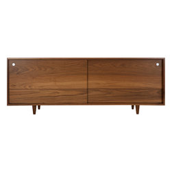 Eastvold Furniture - Classic Credenza, Walnut - This traditional sideboard would look right at home in a midcentury dining room, but inside it's thoroughly equipped for contemporary times, with adjustable shelves and wire management portals to accommodate all of your media. Reinforced mitered joints allow the beautiful grain of the locally harvested, solid wood to wrap fluidly around the piece, from end to end and door to door.