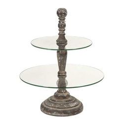 Glover Round 2-Tier Cake Stand - The Glover cake stand has two round tier surfaces surrounding a turned wood finial and base. A great server for petit fours or hors d'oeuvres.