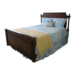 British Traditions - Tall Country Queen Bed w Ball Finials (Antique Blue) - Finish: Antique Blue. Mattress not included. Each finish is hand painted and actual finish color may differ from those show for this product. Tall country queen bed. Ball finials. Ships unassembled, comes with all necessary hardware. Side Rail to Floor: 7 in. off ground. Footboard: 29.5 in. H. Bottom of Panel: 3 in. off ground. 67 in. L x 85 in. W x 54 in. H (124 lbs.)The Le Dauphin bed makes a bold statement in any master bedroom.