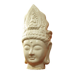 """China Furniture and Arts - Ceramic Buddha Head - Representing the world-renowned art of Chinese ceramics, this hand-crafted Buddha head statue beautifully displays the superior craftsmanship of the Chinese artisan who created it. Made in the Southeast Asian style, this Buddha head has a serene facial expression and characteristic """"snail shell"""" hairstyle, which according to legend was one of the 32 marks of a great man that were discovered at his birth. His long earlobes are said to represent his wealthy background (referring to the heavy earrings he once wore as a prince) or his ability to hear the suffering of the world's people."""