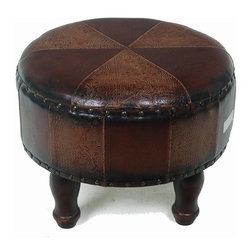 International Caravan - Medium Round Stool - Mix pattern. Premium stitched faux leather. Brown and dark chocolate upholstery. Minimal assembly required. 19 in. Dia. x 15 in. H (13 lbs.)This medium stool makes a perfect accent piece to any chair our lounger in the house.