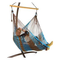 Island Bay Handmade Mayan Hammock Chair - The ultimate seat for all ages, shapes, and sizes. This comfy hammock chair hangs from a 40-inch sturdy wood bar, and features easy single-point attachment. It has a metal-reinforced loop end for extra strength and durability. Each one is handmade from large quantities of soft cotton or nylon cord. The secret to superior comfort and strength lies in the diamond-like design of the hammock weave and the workmanship of expert artisans. Swings from any roof beam or stud using the hanging hardware. The hammock chair is great for apartments, balconies, decks, and trees. The item above is shown in Aruba Stripe. How to compare one Mayan Hammock to AnotherWe have found many competitors selling low-quality Mayan and Taino hammocks. These sellers do not realize that quality comes from the artisan who makes the hammocks. We have found a select few Yucatan artisans who make Mayan Hammocks to our standards. The quality difference means your Mayan hammock from Hammocks.com will last 10 to 12 times longer. So instead of lasting 1 to 2 months, your hammock will last 1 to 2 years! Get your money's worth and buy this Mayan hammock chair today.