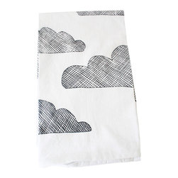 Urban Bird & Co. - Kitchen Towel, Clouds, Cross-Hatched Print In Black Ink On White Towel - Flour sack towel