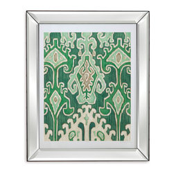 Bassett Mirror - Bassett Mirror Framed Under Glass Art, Emerald Ikat II - Ikat pattern isn't just for fabric, as beautifully exemplified by this gorgeous emerald piece, part II of II of the Emerald Ikat series. Surrounded by a white matte and placed in a contemporary bevel-edged mirrored frame, this piece will make a bold statement anywhere it is displayed. Hang it with Emerald Ikat I to double that statement!