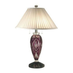 Dale Tiffany - Black Crystal Lamp: 28 in. Black Pearl Haskell Crystal Lamp GT70694 - Shop for Lighting & Fans at The Home Depot. Haskell s blend of clear and colored 24% lead crystal makes for a unique look that is yours alone. The large column features a base color of dark crimson crystal. A clear intricate leaf and floral pattern is cut into the red to create multicolored sparkles when the lamp is lit. A dark metal pedestal base and crisp white fabric shade with crystal finial add extra visual interest that you have come to expect from Dale Tiffany. A luxurious addition to a living room, den or bedroom, our Haskell table lamp is lovingly crafted to last and will provide your family with years of exquisite, reliable lighting.