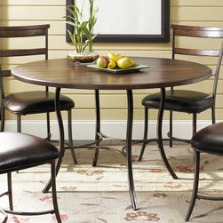 Hillsdale Cameron 5 Piece Round Wood and Metal Dining Table Set with Ladder Back - Each piece of the Hillsdale Cameron 5 pc. Round Wood and Metal Dining Table Set with Ladder Back Chairs features flared metal legs that add a touch of elegance to the set. The table has a round wood top while the chairs feature a wooden ladder-back design. Faux leather upholstery in dark brown completes the sophisticated look of this dining set. About Hillsdale FurnitureLocated in Louisville Ky. Hillsdale Furniture is a leader in top-quality affordable bedroom furniture. Since 1994 Hillsdale has combined the talents of nationally recognized designers and globally accredited factories to bring you furniture styling and design from around the globe. Hillsdale combines the best in finishes materials and designs to bring both beauty and value with every piece. The combination of top-quality metal wood stone and leather has given Hillsdale the reputation for leading-edge styling and concepts.