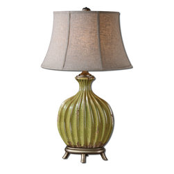 Uttermost - Carentino Green Table Lamp - Artwork doesn't have to hang on walls. It can be useful too. It can sit on your table where it brings light and does more than look beautiful. Try adding this accent lamp to your contemporary decor and give your design aesthetic a little twist.