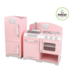 KidKraft - 2 Pc Pink Retro Kitchen, Removable Sink by Kidkraft - With our Pink Retro Kitchen, kids can cook up feasts for the whole family. The young chefs in your life are sure to love this wooden kitchen's sweet colors and adorable details.