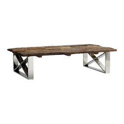Kathy Kuo Home - Crockett Rustic Lodge Reclaimed Wood Coffee Table - Frankly speaking, the combination of rugged, reclaimed wood and shining, polished steel in this coffee table creates a work of art. The clean chrome crisscross design of the base draws the eye while the distressed tabletop surface allows you to pile your possessions, plates and tired feet upon it without worry. Perfectly suited for an industrial loft or modern urban living space.