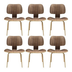 """LexMod - Fathom Dining Chairs Set of 6 in Walnut - Fathom Dining Chairs Set of 6 in Walnut - Follow an unwavering path to achieving life's aspirations. The natural wood design of the Fathom chair supports the body and manifests inborn confidence. Remove obstructions and delve deeply to present quiet fortitude and success. Set Includes: Six - Fathom Plywood Dining Chairs Perfect for businesses and homes, Mid-century modern dining chairs, Plywood with oak effect veneer, Five layered construction, Seats angled for maximal comfort Overall Product Dimensions: 23.5""""L x 22""""W x 31.5""""H Seat Height: 17""""H - Mid Century Modern Furniture."""