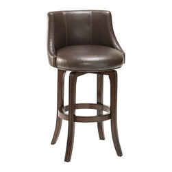 "Hillsdale - Hillsdale Napa Valley 30"" Swivel Bar Stool in Brown Leather - Hillsdale - Bar Stools - 4294831I - The Napa Valley Bar Stool is constructed of solid wood with veneer and finished in a rich dark brown cherry. It features sturdy tapered legs and a fully-upholstered barrel style back. The bar height seat offers 360 degree swiveling capabilities for your convenience. with transitional design elements the Napa Valley Bar Stool is a perfect addition to your bar den or kitchen area."