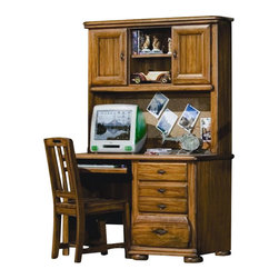 American Woodcrafters - Timberline 3-Pc Computer Desk & Storage Hutch w Chair Set - Warm, rustic design elements including planked cabinet doors and strap hardware in an antiqued finish enhance this three-piece desk and hutch set, an ideal collection for a cabin in the woods or a lakefront retreat. Constructed of wood solids and veneers in saddle brown finish, the set includes a three-drawer desk with a pullout keyboard tray, a storage hutch with both cabinets and shelving and a slat back chair. Timberline Collection. Includes computer desk, hutch and chair. Hardware has simulated nail heads at each end and is recessed into the drawer fronts. Wood drawer interiors. Dovetailing front and back. Veneer drawer bottoms. Center guided drawers. Drawer stops prevent drawers from being accidentally pulled from case. Dust-proofing on bottom drawers. Authentic strap hardware in a rustic metal finish. Selected solids and veneers. 1-Year manufacturer's warranty. Desk: 48 in. W x 22 in. D x 30 in. H (83.6 lbs.). Hutch: 48.5 in. W x 10 in. D x 40 in. H (59.4 lbs.). Chair: 17 in. W x 15 in. D x 36.5 in. H (17.6 lbs.)