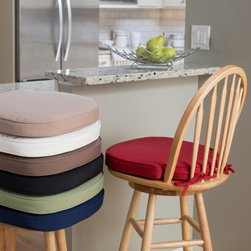 Deauville 17 x 17.25 Windsor Bar Stool Seat Cushion - Available in a great selection of popular solid colors, the Bar Stool Seat Cushion is specially designed to be a perfect fit for the Windsor Counter Stool. This cushion is covered in polyester and has a durable fiber filling. A zippered closure makes it easy to remove the cover for cleaning, and two ties will keep it securely attached to the stool. We recommend you spot-clean with soap and water as needed.