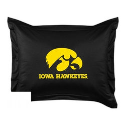 Sports Coverage - Iowa Hawkeyes Locker Room Collection Pillow Sham - Show your team spirit with this officially licensed 25 x 31 Iowa Hawkeyes sham. There is a 2 flanged edge that decorates all four sides of each Iowa NCAA sham. Made of 100% polyester jersey mesh, just like the players wear, with screen printed Iowa Hawkeyes logo in the center. Envelope closure in back. Fits standard pillow. Coordinates with Iowa Locker Room Collection. 3 overlapping envelope closure is on back.