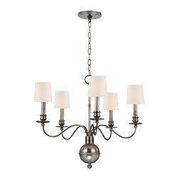 Hudson Valley - 5 Light ChandelierCohasset Collection - Slender arms, sveltely curved, simplify this colonial classic.  Cohasset's sensual form is welcome flair for an otherwise understated interior.  As Old World refinement adapted to the new frontier, Cohasset transposes a treasured look to today's less rigi