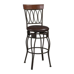 """Linon - Linon Four Oval Back 30 Inch Bar Stool in Matte Bronze - Linon - Bar Stools - 02563MTL01KDU - The elegance and unique style of this 30"""" Four Oval Back Bar Stool will carry throughout your kitchen dining or home pub area. Crafted of metal and highlighted with subtle curves and a distinctive Four Oval back this stool is a positively striking addition to your home. The cushion is piled high for extra comfort and the chocolate wipe clean vinyl seat is pliable and resistant to everyday wear and tear making this stool versatile for any gathering area."""
