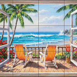 The Tile Mural Store (USA) - Tile Mural - Sk - Tropical Terrace - Kitchen Backsplash Ideas - This beautiful artwork by Sung Kim has been digitally reproduced for tiles and depicts a view through a window to a deck overlooking the ocean.  Beach scene tile murals are great as part of your kitchen backsplash tile project or your tub and shower surround bathroom tile project. Waterview images on tiles such as tiles with beach scenes and sunset scenes on tiles.  Tropical tile scenes add a unique element to your tiling project and are a great kitchen backsplash  or bathroom idea. Use one or two of our beach scene tile murals for a wall tile project in any room in your home for your wall tile project.