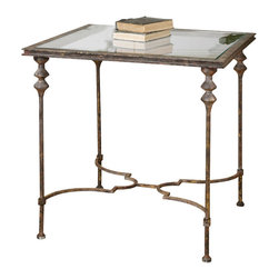 Uttermost - Uttermost Quillon Glass End Table - Quillon Glass End Table by Uttermost Delicately Forged Iron In Antique Gold Leaf With Heavy Gray Glaze, Inset With Clear Tempered Glass.