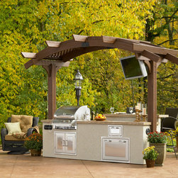 Outdoor Kitchen Island - A Grill Island and outdoor greatroom all-in-one! Get it at www.outdoorrooms.com