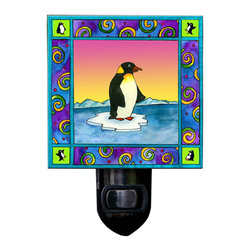 Penguin Night Light - Our adorable Penguin Night Light is made of a print of original painting, which is sandwiched in between two layers of durable acrylic. The light is UL approved and comes with a standard four watt night light bulb. Gift box included. Made in the USA. (Be sure to look for our penguin wall clock, alarm clock and magnets, too!)
