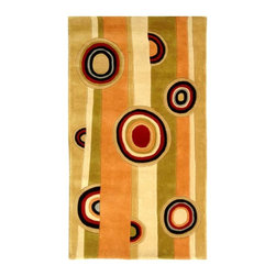 Safavieh - Wool Rug in Assorted Stripes and Circles (2 ft. x 3 ft.) - Size: 2 ft. x 3 ft. Hand tufted.