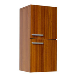 Fresca - Fresca Bathroom Linen Cabinet w/Slow Close Hinges - Teak - This great side cabinet features two storage areas each equipped with a door featuring slow closing hinges.