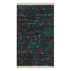 """Loloi Rugs - Loloi Rugs Aria Collection - Purple / Turquoise, 1'-9"""" x 5' - Expressive and relaxed, stylish and fun. The Aria Collection from India has it all. Pretty paisley patterns, flourishing flowers, dreamy damasks and magical medallion designs are printed onto 100% recycled cotton Chindi for scatter rugs that are flirty and fashionable. Dressed in a palette of bold, saturated colors that take you from cool blues and pinks to warm spice tones and modern tropical hues, too, Aria rugs come in select scatter sizes that will accent choice spaces with flair."""