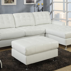 European Small Tufted Cream Leather Sectional Sofa Reversible Chaise - A regal design of classic dimensions, this sectional upholstered in black bonded leather features tufting from backrest to seat cushions blending in with a modern décor. Its frame is supported by shiny silver legs with rounded flat ends.