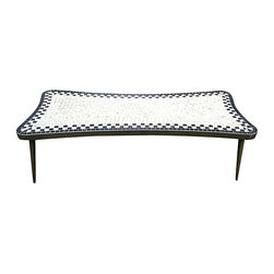 """Royal Board - Consigned Vintage Swedish Tile Mosaic Coffee Table - Exquisite mosaic tile coffee table from Sweden. Biomorphic styling, bras toned metal legs and trim. Gold accents on tile make this piece sparkle! Crafted by Royal Board, labeled underneath. 54"""" L x 23.5"""" W x 15"""" H Excellent vintage condition."""