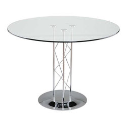 Eurostyle - Eurostyle Trave 32 Inch Round Glass Dining Table w/ Chrome Base - 32 Inch Round Glass Dining Table w/ Chrome Base belongs to Trave Collection by Eurostyle Clear glass top and industrial strength base make Trave the first name in lasting style. The statement is crisp lines and clear strength. Sitting or standing room only! Table Base (1), Table Column (1), Table Top (1)