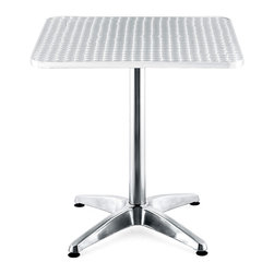 "Zuo Modern - Patio Table w Riveted Stainless Steel Top - Pedestal style base is supported by four durable prongs. Its table top is made of a corrugated steel design with aluminum edging for a reliable eating space. Steel commercial patio tables with aluminum edging will resist the wear and tear of customers as well as the elements. This shining table features a four-point aluminum base, as well as a highly modern stainless steel table-top which features a useful anti-slip design. Ideal for outdoor use, this attractive and durable table features a 27���"" square stainless steel top accented and protected by a non-corrosive aluminum edge. * Suitable for covered outdoor use (MDF underside needs to stay dry). Aluminum wrapped MDF table top. Stainless Steel Top. 4 Prong base with adjustable lever . Aluminum Edge. Aluminum finished column and base. 28"" H x 27.5"" W x 27.5"" L"