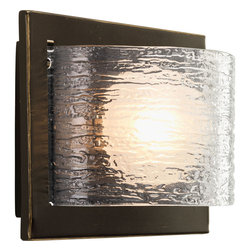 Progress Lighting - Progress Lighting P2842-20WB 1-Light Wall Sconce with Bulb and Textured Glass - Progress Lighting P2842-20WB 1-Light Wall Sconce with Bulb with Clear Textured Glass Panels