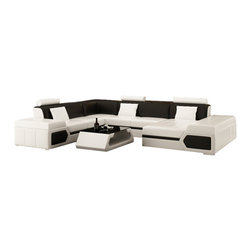Scene Furniture - Large Transformer Sectional, White, Add Matching Coffee Table - The large Transformer sectional from Scene Furniture is a statement design. From the expansive layout to the ultra sleek two-tone color, this beauty combines looks and comfort. The matching throw pillows are included and the matching coffee table is optional.