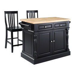 Crosley Furniture - Butcher Block Top Kitchen Island with Black S - Includes two stools. Fully functional doors and drawers on both sides. Butcher block top. Two towel bars. Brushed nickel hardware. Carved column accents. Two adjustable shelves behind doors. Warranty: 90 days. Made from solid hardwood and wood veneers. Black finish. Made in Vietnam. School house stool height: 24 in.. Overall: 48.25 in. W x 23 in. D x 36 in. H (168 lbs.). Assembly instructions - Kitchen Island. Assembly instructions - StoolThis kitchen island is designed for longevity. The handsome raised panel doors and drawer fronts provide the ultimate in style to dress up any culinary space. Great for food preparation, the butcher block top is a plus in any kitchen. Deep push-through drawers are great for holding essential items, such as utensils or storage containers. Style, function, and quality make this kitchen island a wise addition to your home.