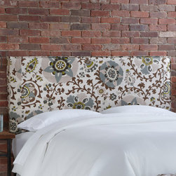 """Skyline Furniture - Silsila French Slipcover Upholstered Headboard - A classic silhouette with a tailored look gives this French seamed slipcover headboard panache. Upholstered in an elegant, eye-catching pattern and finished with a French seamed welt, it's sure to be a focal point of any bedroom. Attaches to any standard bed frame. Features: -Handmade.-Made in the USA.-Spot clean only.-Hardware and instructions included.-Gloss Finish: No.-Frame Material: Pine wood.-Hardware Material: Steel.-Adjustable Height: Yes.-Wall Mounted: Yes.-Reversible: No.-Media Outlet Hole: No.-Built In Outlets: No.-Hardware Finish: Black metal.-Finished Back: No.-Distressed: No.-Hidden Storage: No.-Freestanding: No.-Frame Included: No.-Drill Holes for Frame: Yes.-Collection: Silsila.-Commercial Use: No.-Recycled Content: No.Specifications: -EPP Compliant: No.-CPSIA or CPSC Compliant: Yes.-CARB Compliant: Yes.-JPMA Certified: No.-ASTM Certified: No.-ISTA 3A Certified: Yes.-PEFC Certified: No.-General Conformity Certificate: Yes.-Green Guard Certified: No.Dimensions: -Overall Product Weight (Size: California King): 40 lbs.-Overall Product Weight (Size: Full): 31 lbs.-Overall Product Weight (Size: King): 45 lbs.-Overall Product Weight (Size: Queen): 33 lbs.-Overall Product Weight (Size: Twin): 24 lbs.-Leg Height: 6"""".-Bottom of Headboard to Floor: 24"""".Assembly: -Assembly Required: Yes.-Tools Needed: Allen wrench, wrench.-Additional Parts Required: No.Warranty: -1 Year limited warranty (excludes fabric).-Product Warranty: 1 Year limited (Excludes fabric)."""