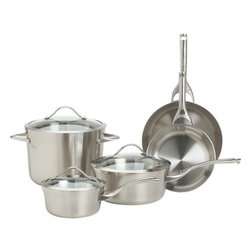 "Calphalon® Contemporary Stainless 8-Piece Cookware Set with Double Bonus - For cooks with an eye for design. Durable, professional-quality pans show off curves and a clean profile finished in a fine satin luster. Tri-ply construction features two layers of stainless steel encasing a full aluminum core for even, consistent heating. Double-riveted cast stainless stay-cool handles are ergonomically designed with rounded ends for comfort. Elegant flared rims allow easy pouring while adding extra strength to ""stress point"" edges. See-through domed glass lids are heat-tempered for strength with wide, protective stainless steel rims. Set includes bonus Unison 5 qt. Colander ($110.00 value) and bonus Unison Everyday Pan with Lid ($170.00 value)."