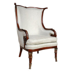 A.F.D. - Mahogany Fireside Linen Chair - Elegant and crisp, these chairs perfectly flank a fireplace or anchor the center of a room, and are crafted of the highest materials.