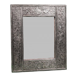 Hand-Engraved Moroccan Mirror. - One of a kind, hand crafted Moroccan mirror consisting of engraved Berber Silver that requires great dexterity.