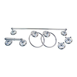 Moen - Moen Boutique Blue Floral 6-piece Bath Accessory Kit R6 - Update the look of your bathroom decor with this Moen 6-piece bath accessory kit