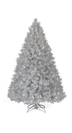 Grand Silver Trees - The Silver Tinsel Tree will bring instant holiday cheer with its vintage good looks. Reminiscent of the silver tinsel strands that decorated the trees of your youth, our silver Christmas tree brightens a room with its professionally strung, beautiful clear lights. To complete the look, our Silver Tinsel Tree also comes with a matching silver premium folding metal stand. Celebrate your holiday with this timeless beauty!