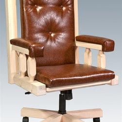 Montana Woodworks - Upholstered Office Chair - Hand crafted. Sawn square timbers and trim pieces for rustic timber frame design. Heirloom quality. Adjustable tilt mechanism and swivel. Padded seat, back and arms. Roller casters. Made from U.S. solid grown wood. Lacquered finish. Made in U.S.A.. Assembly required. 27 in. W x 24 in. D x 48 in. H (62 lbs.). Warranty. Use and Care InstructionsFrom Montana Woodworks, the largest manufacturer of handcrafted quality log furnishings in America comes the all new Homestead Collection line of furniture products. Each piece signed by the artisan who makes it.