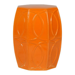 Kathy Kuo Home - Modern Coastal Beach Bright Orange Treillage Garden Seat Stool - Traditionally used in China as tea tables- these garden stools make a perfect addition to your living space as side tables, or clustered together to be used as a coffee table.  Glazes are triple fired for added luster and shine.  With a hand made product, glaze variations of up to 10% is to be expected.