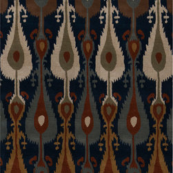 """Surya - Surya Matmi MAT-5456 (Midnight Blue, Hot Cocoa, Parchment, Burnt Sienna) 3'3"""" x - Unique is the only word to describe the Surya Matmi collection. Covered in individualistic patterns and bright, vivid colors, these rugs are unlike any other you have ever seen. Hand tufted from 100% wool, the softness and durability is just a bonus to these amazing rugs."""